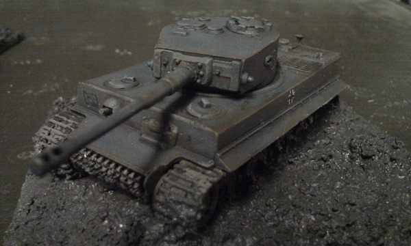 Tiger in the mud by P Watson front view